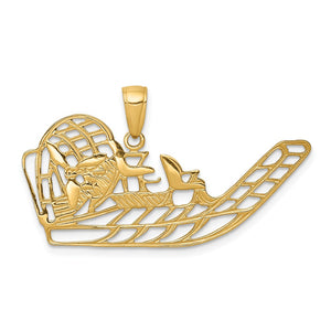 14k Yellow Gold Open Airboat Pendant - The Black Bow Jewelry Co.
