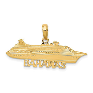 14k Yellow Gold Bahamas Ocean Liner Pendant - The Black Bow Jewelry Co.