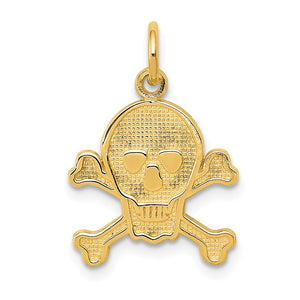 14k Yellow Gold Skull and Crossbones Textured Pendant or Charm - The Black Bow Jewelry Co.