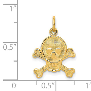Alternate view of the 14k Yellow Gold Skull and Crossbones Textured Pendant or Charm by The Black Bow Jewelry Co.