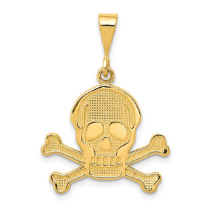 14k Yellow Gold Textured Skull and Crossbones Pendant - The Black Bow Jewelry Co.