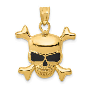 14k Yellow Gold Black Enameled Skull and Crossbones Pendant - The Black Bow Jewelry Co.