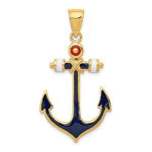 14k Yellow Gold Red, White and Blue Enameled Anchor Pendant - The Black Bow Jewelry Co.