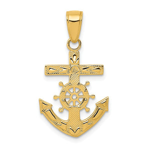 14k Yellow Gold Reversible Mariner's Cross Pendant - The Black Bow Jewelry Co.