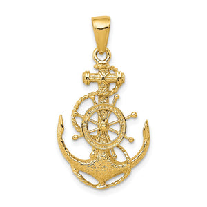 14k Yellow Gold Medium Anchor, Ship's Wheel and Rope Pendant - The Black Bow Jewelry Co.