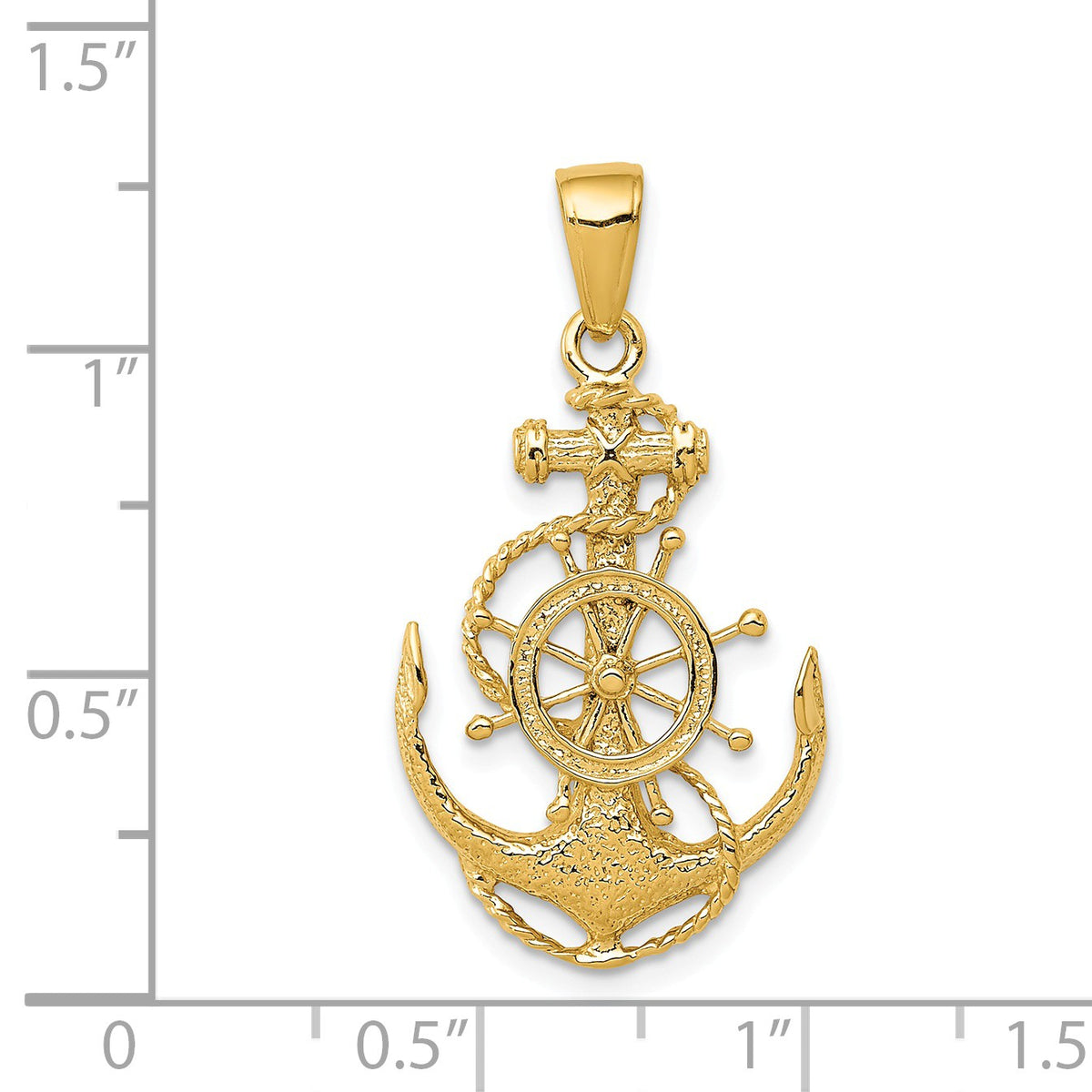 Alternate view of the 14k Yellow Gold Medium Anchor, Ship's Wheel and Rope Pendant by The Black Bow Jewelry Co.