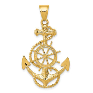 14k Yellow Gold Large Anchor, Ship's Wheel and Rope Pendant - The Black Bow Jewelry Co.