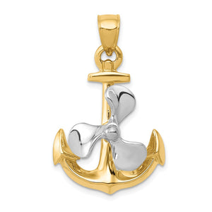14k Two Tone Gold Polished Anchor and Spinning Propeller Pendant - The Black Bow Jewelry Co.
