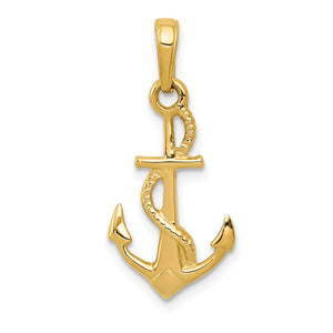 14k Yellow Gold Polished 3Dimensional Anchor Pendant - The Black Bow Jewelry Co.