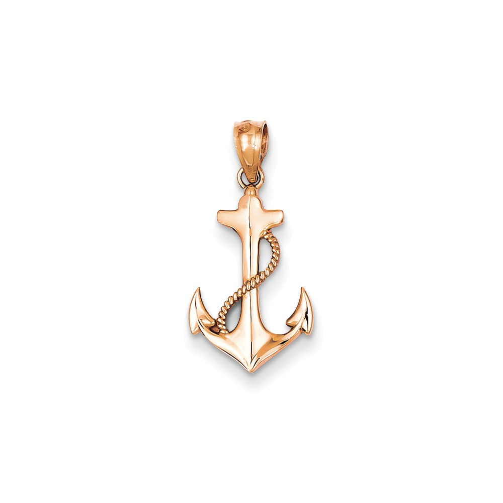 14k Rose Gold Polished Anchor Pendant, Item P9342 by The Black Bow Jewelry Co.