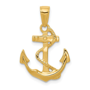 14k Yellow Gold 2D Polished Anchor Pendant - The Black Bow Jewelry Co.