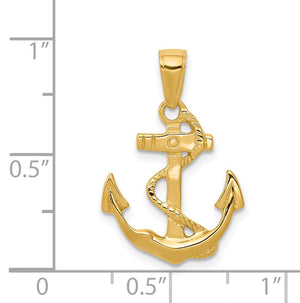 14k Yellow Gold 2D Polished Anchor Pendant