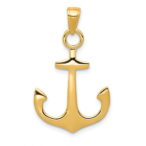 14k Yellow Gold Unadorned Anchor Pendant, 19 x 30mm - The Black Bow Jewelry Co.