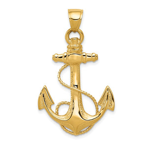 Mens 14k Yellow Gold Large Textured & Polished Anchor Pendant, 25x40mm - The Black Bow Jewelry Co.