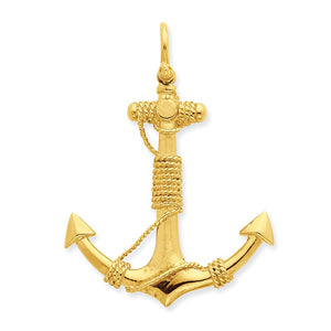 14k Yellow Gold Large 3D Admiralty Anchor with Rope Pendant - The Black Bow Jewelry Co.