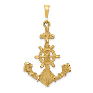 14k Yellow Gold Large Satin Anchor with Wheel and Rope Pendant - The Black Bow Jewelry Co.