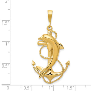 14k Yellow Gold Large Polished Anchor with Dolphin Pendant