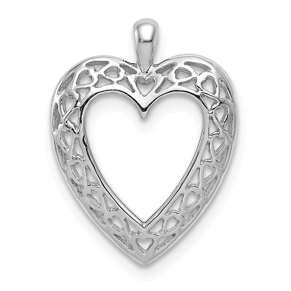 14k White Gold Cutout Open Heart Pendant, Item P9369 by The Black Bow Jewelry Co.