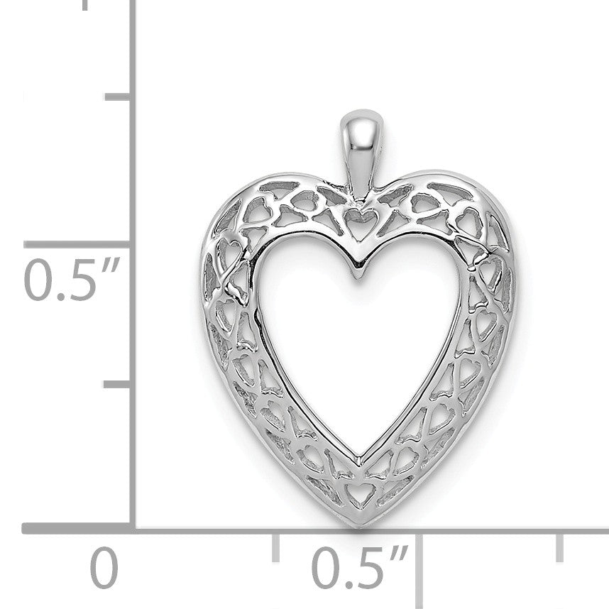 Alternate view of the 14k White Gold Cutout Open Heart Pendant by The Black Bow Jewelry Co.