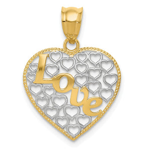 14k Yellow Gold and White Rhodium Two Tone Love Heart Pendant - The Black Bow Jewelry Co.