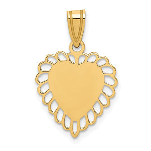 14k Yellow Gold Satin Scalloped Heart Pendant, 15mm - The Black Bow Jewelry Co.