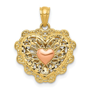 14k Two Tone Gold 16mm Reversible Filigree Heart Pendant - The Black Bow Jewelry Co.
