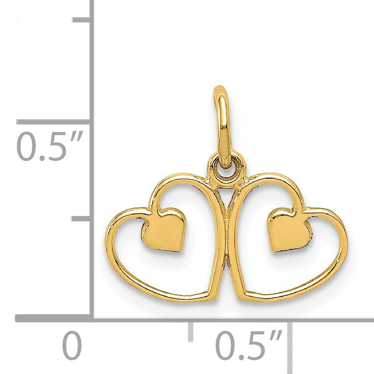 Alternate view of the 14k Yellow Gold Diamond Cut Satin Double Heart Charm by The Black Bow Jewelry Co.