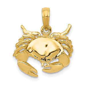 14k Yellow Gold Stone Crab Pendant, 16mm - The Black Bow Jewelry Co.