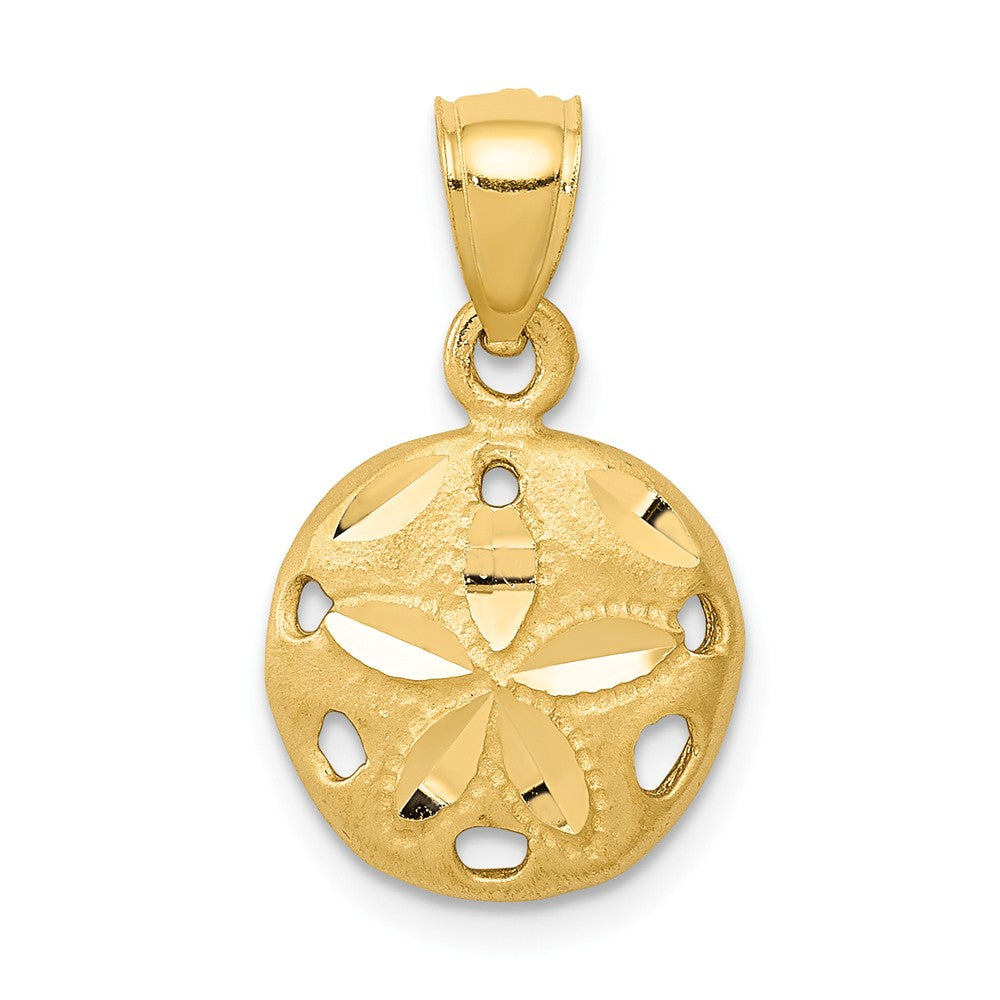 14k Yellow Gold 12mm Diamond Cut Satin Sand Dollar Pendant, Item P9566 by The Black Bow Jewelry Co.