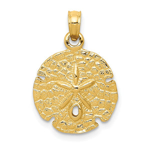 14k Yellow Gold 15mm Textured Sand Dollar Pendant - The Black Bow Jewelry Co.
