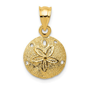 14k Yellow Gold 12mm Laser Cut Sand Dollar Pendant - The Black Bow Jewelry Co.
