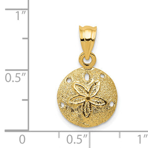 Alternate view of the 14k Yellow Gold 12mm Laser Cut Sand Dollar Pendant by The Black Bow Jewelry Co.