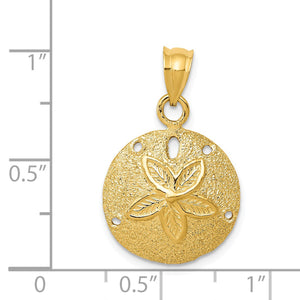 Alternate view of the 14k Yellow Gold 16mm Laser Cut Sand Dollar Pendant by The Black Bow Jewelry Co.