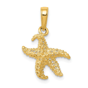 14k Yellow Gold 12mm Textured and Cutout Starfish Pendant - The Black Bow Jewelry Co.