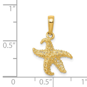Alternate view of the 14k Yellow Gold 12mm Textured and Cutout Starfish Pendant by The Black Bow Jewelry Co.