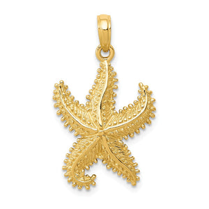 14k Yellow Gold 16mm Textured 2D Starfish Pendant - The Black Bow Jewelry Co.