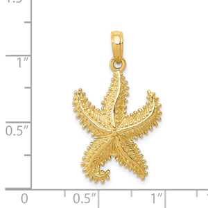 14k Yellow Gold 16mm Textured 2D Starfish Pendant