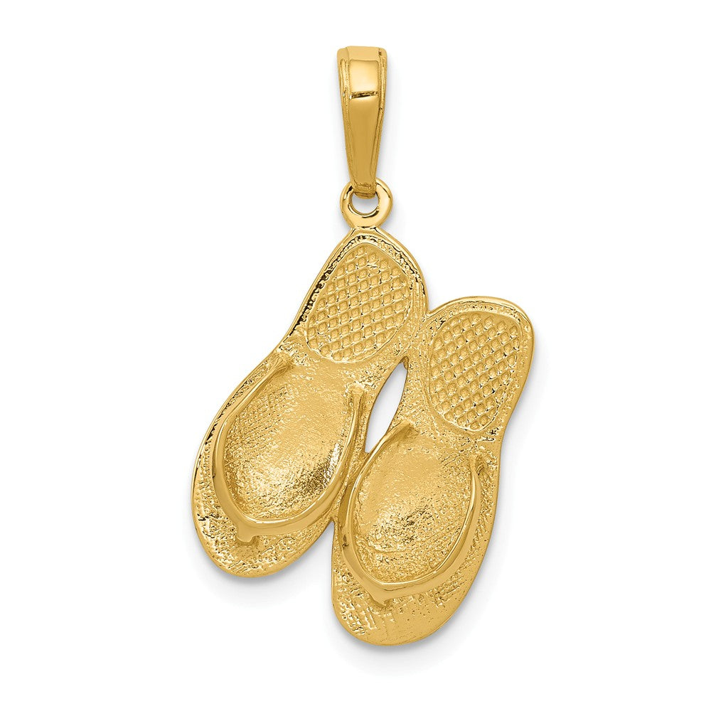 14k Yellow Gold 3D Maui Aloha Flip Flops Pendant, Item P9735 by The Black Bow Jewelry Co.