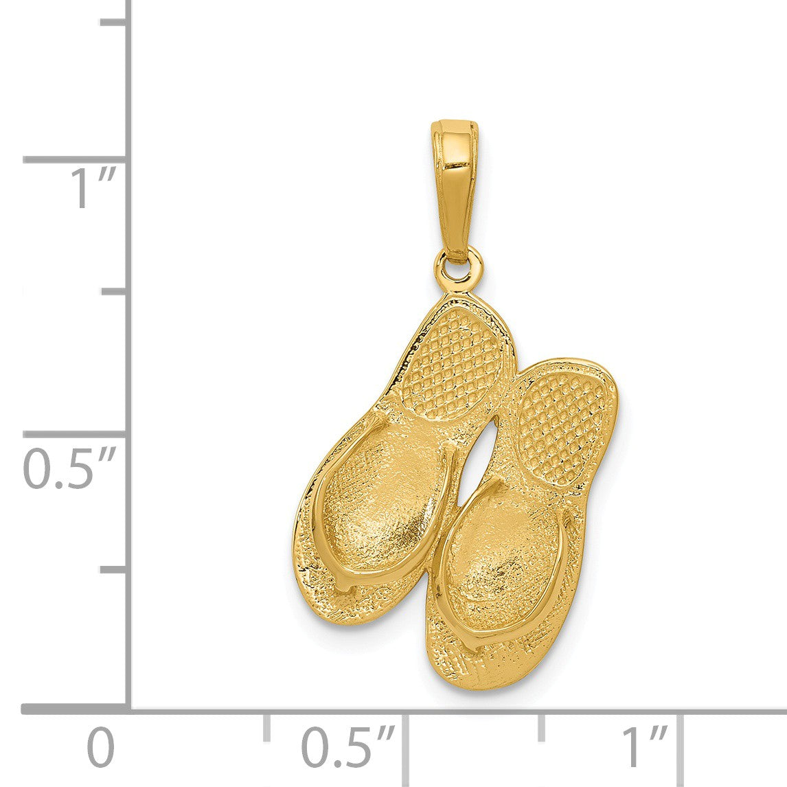 Alternate view of the 14k Yellow Gold 3D Maui Aloha Flip Flops Pendant by The Black Bow Jewelry Co.