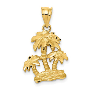 14k Yellow Gold Satin and Diamond Cut Palm Trees Pendant - The Black Bow Jewelry Co.