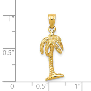 Alternate view of the 14k Yellow Gold 24mm Polished Palm Tree Pendant by The Black Bow Jewelry Co.