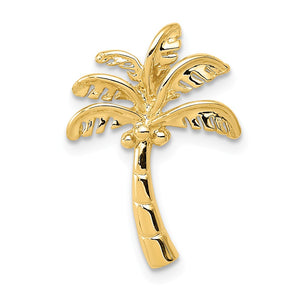 14k Yellow Gold Palm Tree Slide in Polished - The Black Bow Jewelry Co.
