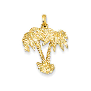 14k Yellow Gold Large Double Palm Trees Pendant - The Black Bow Jewelry Co.