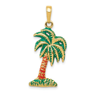 14k Yellow Gold Enameled Palm Tree Pendant - The Black Bow Jewelry Co.