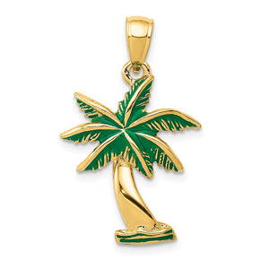 14k Yellow Gold Green Enameled Palm Tree Pendant - The Black Bow Jewelry Co.