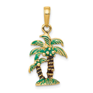 14k Yellow Gold 3D Enameled Palm Trees Pendant - The Black Bow Jewelry Co.