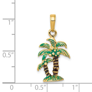 14k Yellow Gold 3D Enameled Palm Trees Pendant