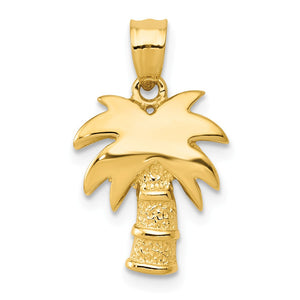 14k Yellow Gold Polished and Textured Palm Tree Pendant - The Black Bow Jewelry Co.