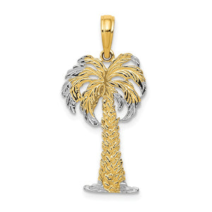 14k Rose and Yellow Gold Polished and Textured Palm Tree Pendant - The Black Bow Jewelry Co.