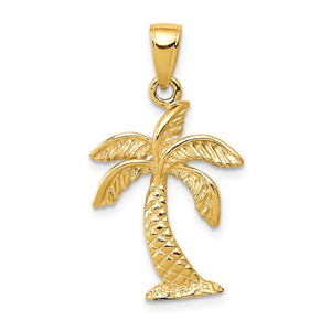 14k Yellow Gold Textured Palm Tree Pendant, 15 x 28mm - The Black Bow Jewelry Co.